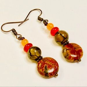 Dragons Veins Picasso Jasper Carnelian Earrings